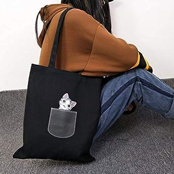 Lona de Las Mujeres Bolsa de la Compra Plegable Negro Perro de Dibujos Animados de Tela de Algodón Bolsa de Mujer Bolsos Tote Hombro Shopper Bolsa Bolsa Feminina, Gato Negro: Amazon.es: Equipaje