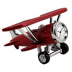 StealStreet SS-KD-3569, 4.2 Inch Biplane Clock Decoration Accurate Quartz - Burgundy 4.2,