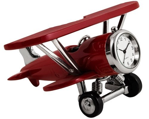StealStreet SS-KD-3569 Biplane Clock Decoration Accurate Quartz, 4.2, Burgundy