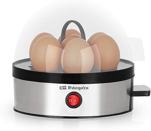 apagado autom/ático 350 W de potencia Cocedor huevos carcasa de acero inoxidable libre de BPA Orbegozo CU 5100 capacidad para 7 huevos