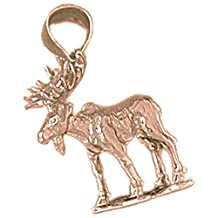 Rose Gold-plated 925 Sterling Silver 24mm Moose Charm Pendant (Approx. 2.975 grams)