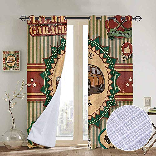 NUOMANAN Grommet Curtains Retro,Collection of Vintage Retro Car Label in Faint Color Sixties Dated Irony Pop Art,Green Red Cream,Blackout Draperies for Bedroom Window 52