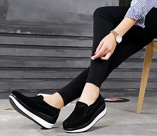 Zapatillas mujer forma Bumud penny con de con para deslizante Negro plataforma PwggxqC