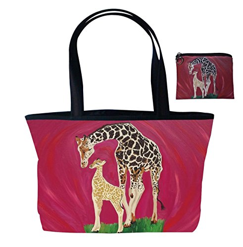 Giraffe Gift Set Shoulder Bag and Coin Purse- Support Wildlife Conservation - Read How - From My Original Painting, Full Circle Avenue Top Zip Tote