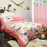 Dinosaur Homes Pink Dinosaur Bedding Dinosaur Duvet Cover Set (Queen)