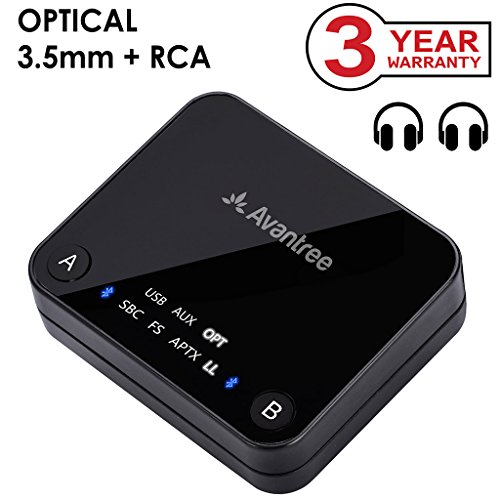 Transmitter Analog (Avantree aptX LOW LATENCY support Bluetooth Audio Transmitter for TV, DUAL LINK, NO DELAY, 100ft Long Range, OPTICAL, 3.5mm AUX & RCA Wireless Adapter for PC - Audikast [3-Year Warranty])