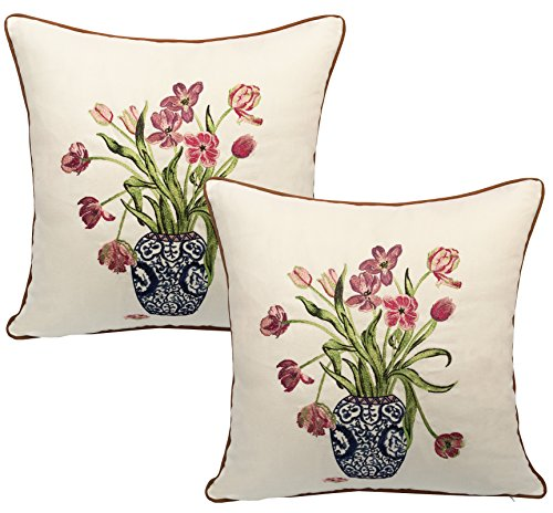 BLUETTEK Handmade Embroidered Decorative Pillowcase product image
