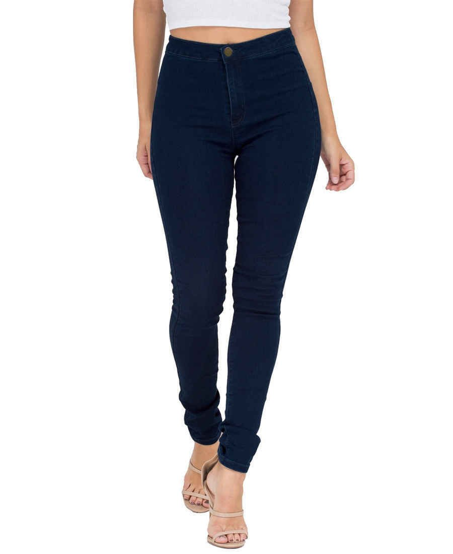 ESDAMIER Women's Butt-Lifting Cotton Skinny Jeans | High-Rise Waist, Casual Style(Blue, M)