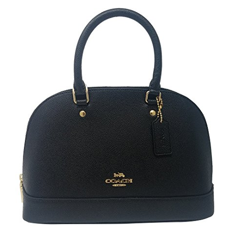 Coach Womens Mini Sierra Satchel Handbag, Crossgrain Leather, Detachable Crossbody Strap (Mini, Black)