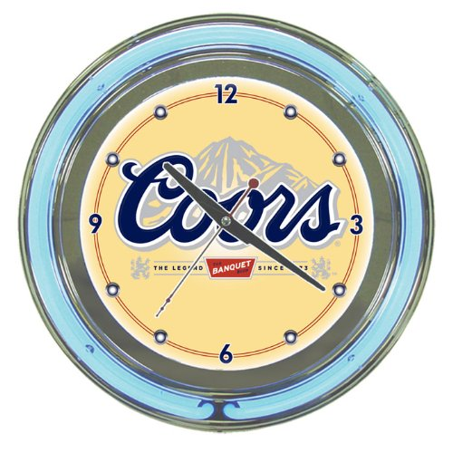 (Coors Banquet Chrome Double Ring Neon Clock, 14