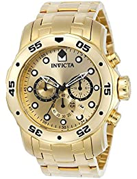 Men's 0074 pro Diver Analog Japanese Quartz 18k Gold-Plated Stainless Steel Watch