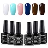"Beauty : Lagunamoon Gel Nail Polish Set 6 Colors Gel Polish Soak Off UV LED Manicure Set Requires Drying Under Nail Lamp,8ML Each Bottle-""Marble Collection"""