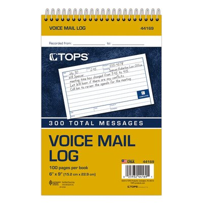 1 Part Two Sided Voice Message Log Book (Set of 6)