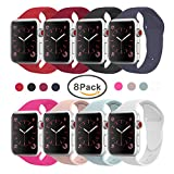 VATI Band for Apple Watch Series 3 Bands, Soft Silicone Replacement Sports Band for Apple Watch Band 42mm 2017 Series 3 Series 2 Series 1,8 Pack of 42MM S/M Size