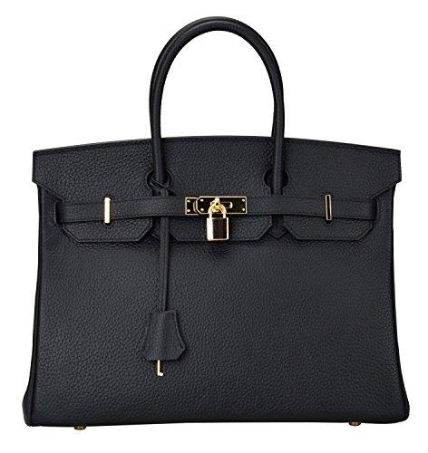 Gold Hardware Leather Handbags - Women's Genuine Leather Padlock Handbags Top Handle Purse Gold Hardware On Sale (13.8'' (35cm), Black)