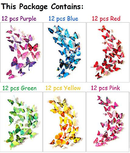 O&XIMEIA 72 x PCS 3D Colorful Butterfly Wall Stickers DIY Art Decor Crafts Removable Mural for Room Home Nursery Decor Magnets And Glue Sticker Set
