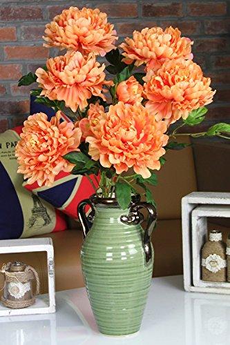 Artificial flower,Vintage Artificial Peony Silk Flowers Bouquet Home Wedding Decoration (Orange)
