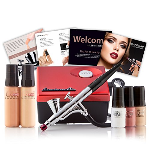 Luminess Air Red & Black Legend Airbrush System with 5-Piece Silk 4-IN-1 Deluxe Airbrush Foundation & Cosmetic Starter Kit, Fair