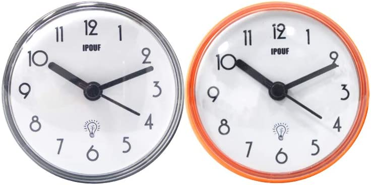 IPOUF Waterproof Clock Bathroom Suction Cup Shower Mini Bath Wall Clock for Washroom/Kitchen (2pack)
