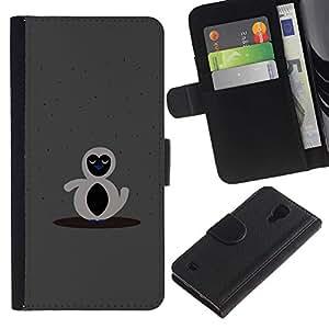 Protector de cuero de la PU de la cubierta del estilo de la carpeta del tirón BY RAYDREAMMM - Samsung Galaxy S4 IV I9500 - Gray cuenta pingüino gris