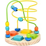 GEDIAO Bead Maze Activity Cube Wooden Toys for Baby, Toddlers Bead Roller Coaster Beads Early Learning Toys