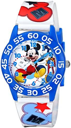 Disney Kids' W001659 Mickey Mouse Plastic Watch, Printed Band