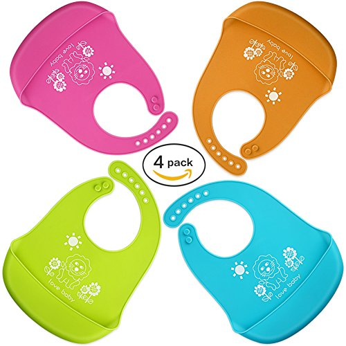Baby Bib Light and easy to clean Comfortable Soft Baby Bibs Keep Stains Off Convenient to Meals with Babies Toddlers! Set of 4 Colors (Lime Green+Light Blue+Pink+ Orange) (Baby Meal Time Set)