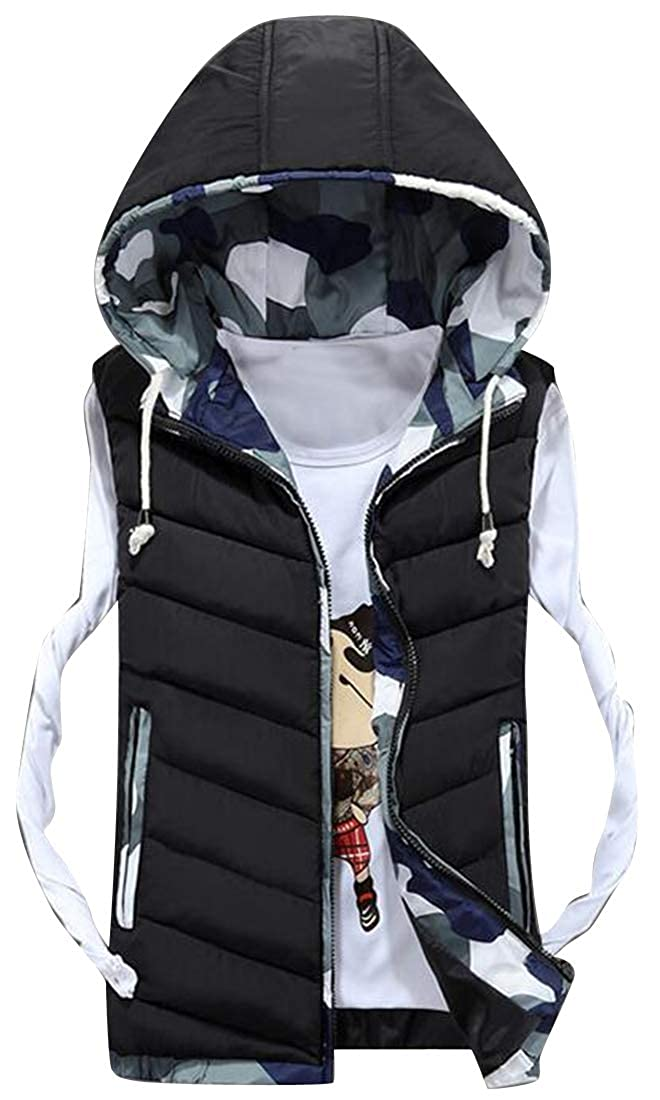 Fubotevic Mens Camo Cotton Lined Fall /& Winter Hooded Down Quilted Vest Puffer Waistcoat Jacket Outerwear