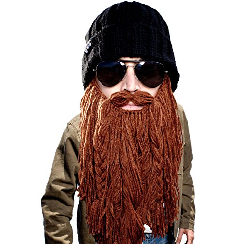 Beard Head Barbarian Roadie Beard Beanie -Funny Knit Hat and Fake Beard Facemask Brown -