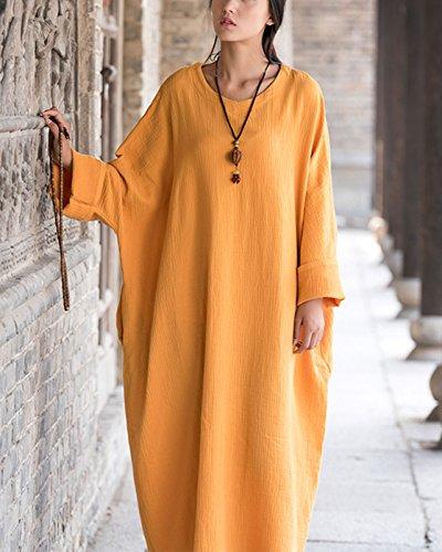 Verano Otoño Túnica Holgada Mujer Larga Happy Ancha para Suave Cherry Maxi Vestido Primavera Transpirable Amarillo wCqt71xO
