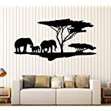 Vinyl Wall Decal African Nature Elephants Family Africa Tree Stickers Large Decor (ig4044) Black
