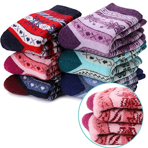 (Boys Girls Wool Socks Soft Warm Thick Thermal Cotton For Child Kid Toddler Winter Crew Socks 6 Pairs (snowflake, 4-7Y))