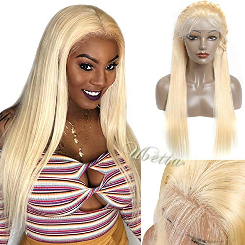 Style Lace Front Wig - Lace Front Human Hair Wig Blonde 613 Pre Plcuked with Baby Hair Glueless Straight Brazilian Remy Human Hair Blonde Wig for Black Women Frontal Lace Wig Bleached Knots Free Part 150% Density 20