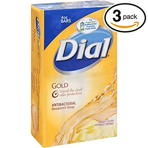(PACK OF 3 BARS) Dial Classic GOLD Antibacterial Bar Soap. Round the Clock Odor Protection. Leaves Skin Smooth & Radian! Hypo-Allergenic. Great for Hands, Face & Body! (3 Bars, 4oz Each (Dial Bar Gold)