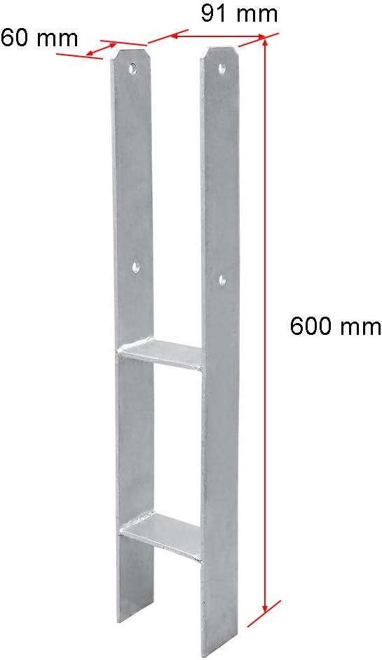 Hengda 91MM 4 St/ück Pfostentr/äger Pfosten H-anker Feuerverzinkt Langlebig Vierkantholzpfosten f/ür Pfosten 9x9cm