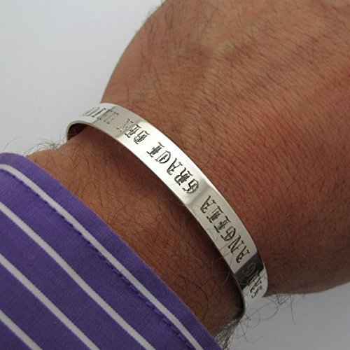 4d04c141bae4 Personalized Mens Bracelet - Old English Font Engraved Cuff - Sterling  Silver Bracelet for Men - Fathers Day Gifts - Mens Bracelets - Customized  Mens ...
