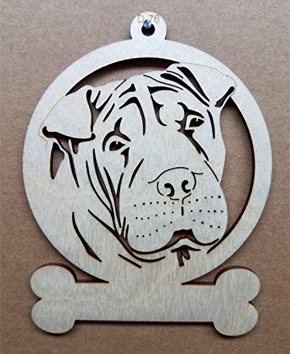 Shar Pei Dog Wooden Christmas Ornament Customizable or Personalized