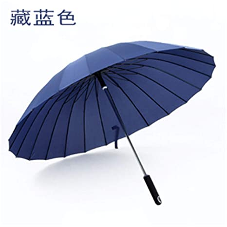 Paraguas Plegables Paraguas Transparente Parche de 24 Hombros Súper Grande Resistente al Viento Mango Largo Caña
