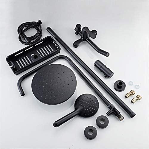 レインシャワーシステム圧力バランスバルブ露出シャワーを設定レインシャワーヘッド調整スライドバー3 - 機能マットブラック,B