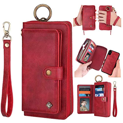iPhone XR Leather Flip Case Cover,iPhone XR Wallet Case for Women and Men,AIFENG [14 Card Holder][Zipper][Magnetic Detachable] Wallet Folio Case Leather Pouch for iPhone XR(6.1