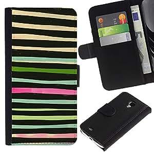 APlus Cases // Samsung Galaxy S4 Mini i9190 MINI VERSION! // Líneas acuarela Extracto Verde Negro // Cuero PU Delgado caso Billetera cubierta Shell Armor Funda Case Cover Wallet Credit Card