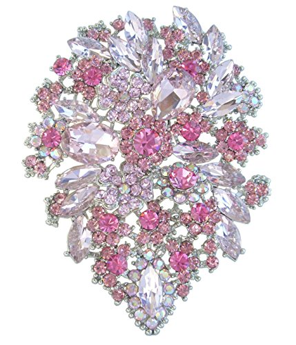 -Tone Pink Rhinestone Crystal Flower Brooch Pin Pendant BZ3905 ()