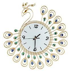 Easydeal Luxury 40Pcs Diamond Decorative3D Peacock Large Wall Clocks Metal Living Room Wall Decor Clock Golden