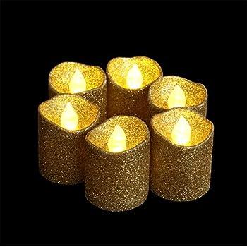 Amazon Com Gold Glitter Led Votive Candle Flameless