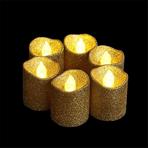 LOGUIDE 12pcs Gold Glitter Votive Candle Battery Powered Flameless LED Wedding Tealight Candle Xmas Christmas