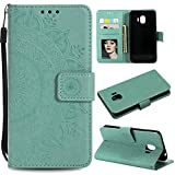 Galaxy J2 Pro 2018 Floral Wallet Case,Galaxy J2 Pro 2018 Strap Flip Case,Leecase Embossed Totem Flower Design Pu Leather Bookstyle Stand Flip Case for Samsung Galaxy J2 Pro 2018-Green