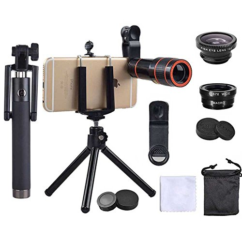 ephoto with Fisheye + [Wide Angle] and Macro with Lens with Mini Tripod + Zoom + Phone Holder for iPhone X/8/7/6/6s Plus Phone Galaxy S8 / S7 Android Phone [7 in 1 Pack] ()