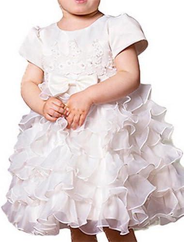 ZH de niña vestido blanco, volantes/Lazo algodón verano/Primavera, color blanco, tamaño 80: Amazon.es: Deportes y aire libre