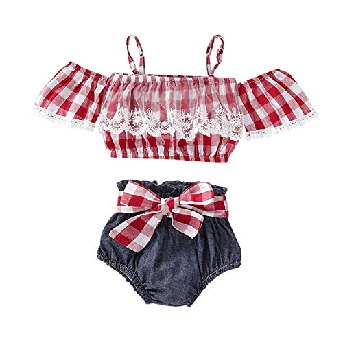 Moolia Newborn Baby Girl Red Plaid Sling Lace Off Shoulder Shorts Outfit Clothes Set (100(18-24M), Red)