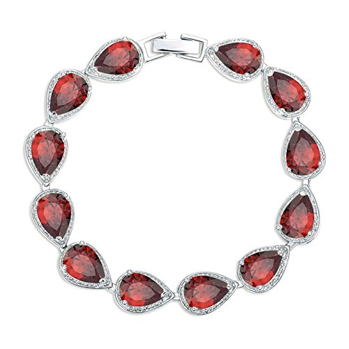SELOVO Red Ruby Color Stone Cubic Zirconia Teardrop Link Tennis Bracelet for Women Silver Tone